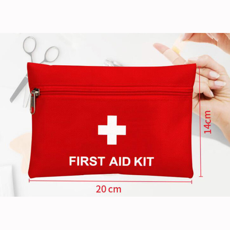 Custom printed logo convenient folded portable travel emergency kit first aid bag with zipper