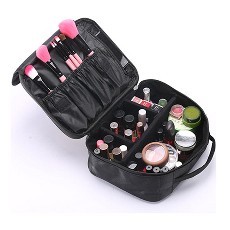 Portable waterproof travel cosmetic case organizer bag with handle