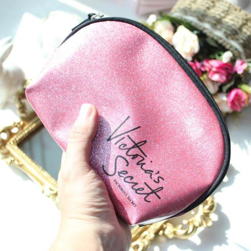 Pink PU leather zipper make up bag packing brush coin jewelry bag