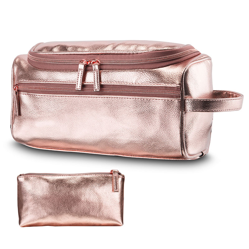 Fancy Luxury Blank Travel Pu Leather Toiletry Cosmetic Bag With Hook