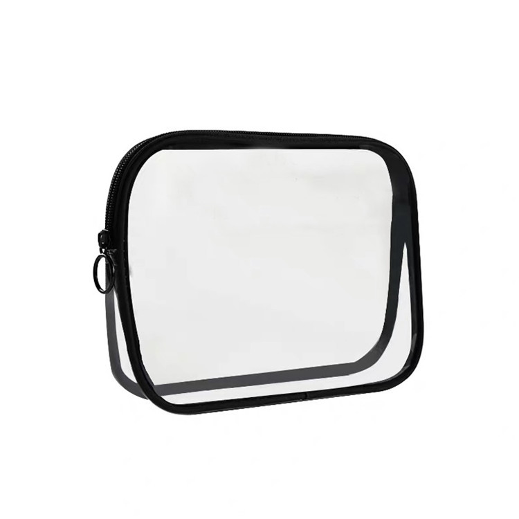 Custom plain makeup brush transparent bag zipper clear pvc bag
