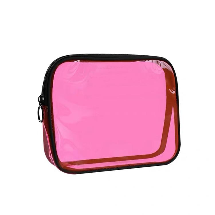 Custom plain makeup brush transparent bag zipper clear pvc bag