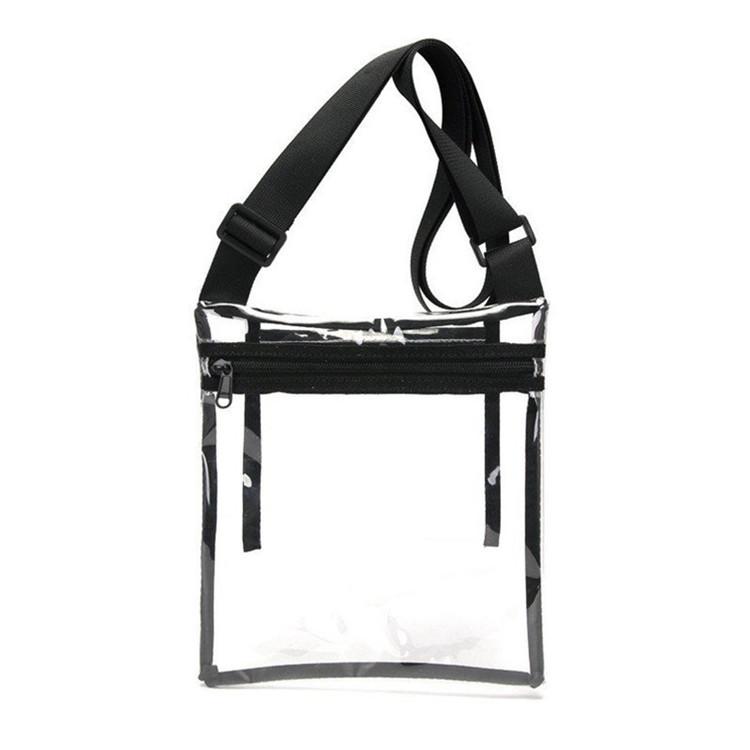 Custom inside pocket zipper make up travel  clear pvc bag with shoulder