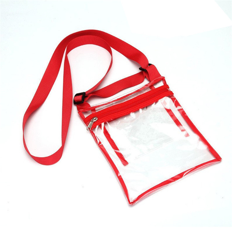 Custom inside pocket zipper make up travel  clear pvc bag with shoulder