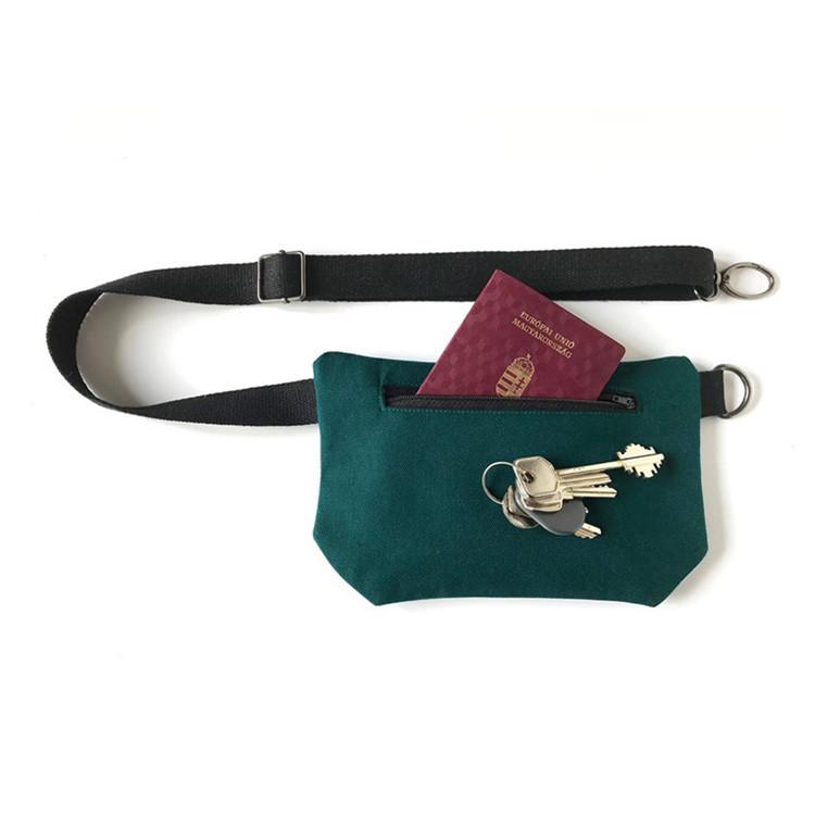 Custom packing phone coin zipper canvas sport waist bag
