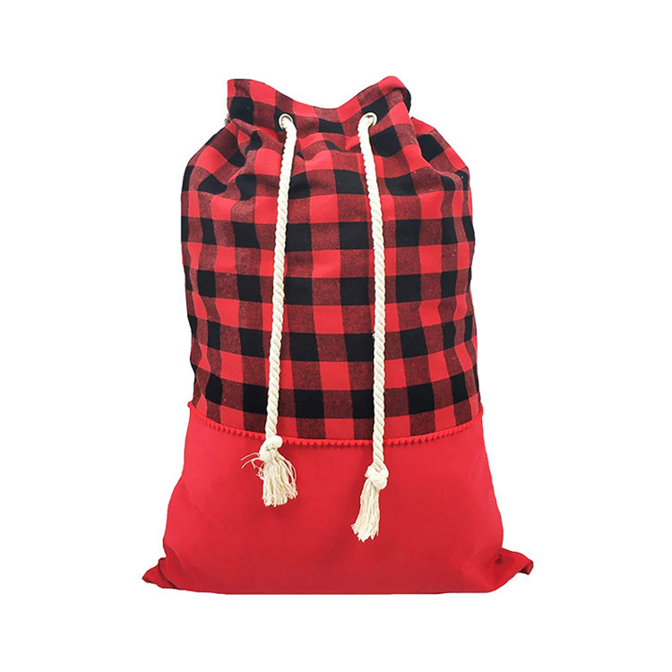 Custom large red plaid cotton canvas drawstring bag storage christmas gift bag