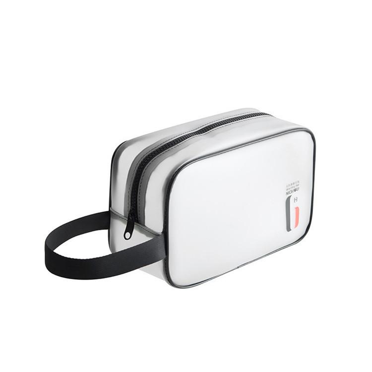 Custom printed logo zipper travel translucent tpu make up bag with handle