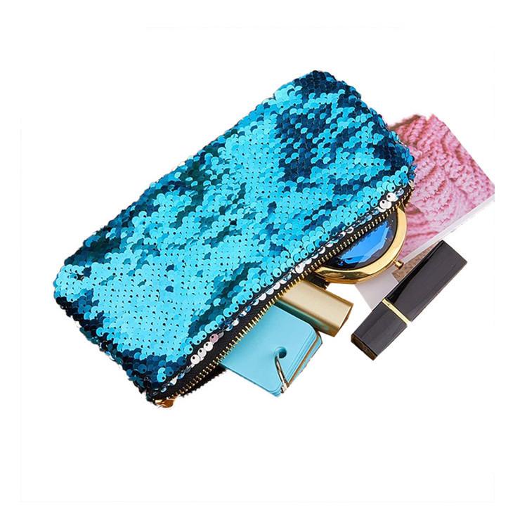 Hot sale blue reversible sequin zipper bag