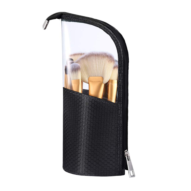 Custom black nylon PVC Triangle shape zipper make up brush bag