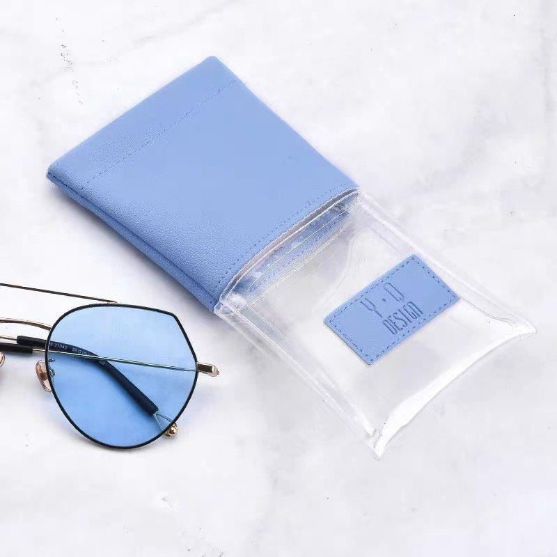 Custom spring open PU leather sunglasses pouch bag with pvc window