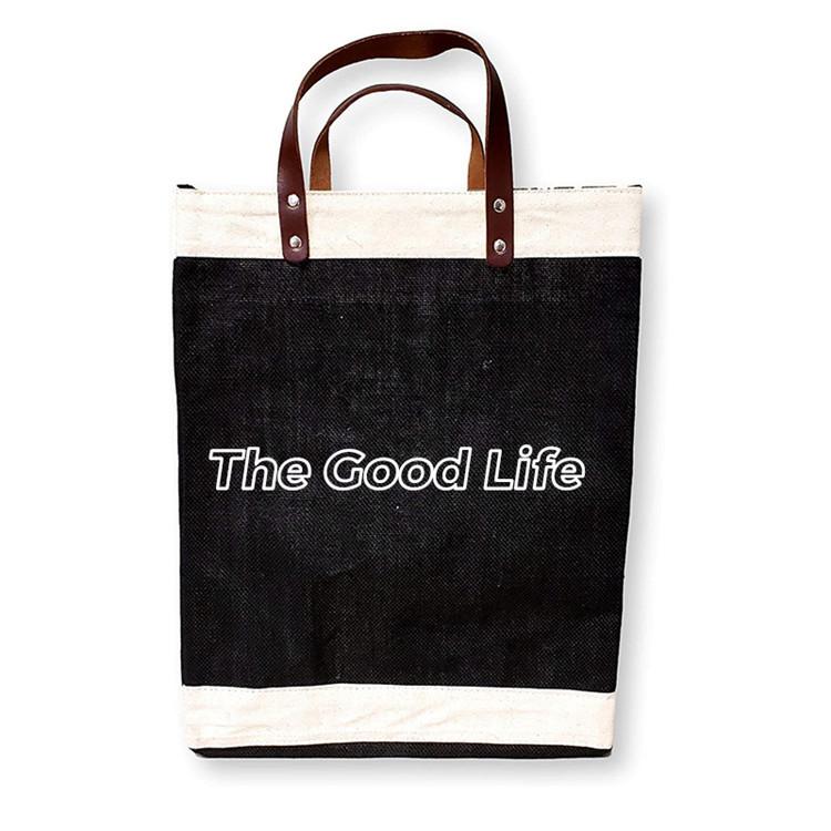 Reusable jute burlap fabric market bag with faux leather straps
