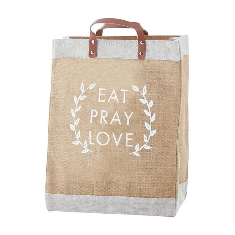 Custom logo grocery burlap jute tote linen trim leather handle tote bag