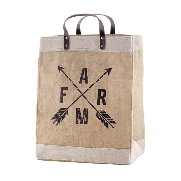 Custom logo grocery burlap jute tote linen trim leather handle tote bag