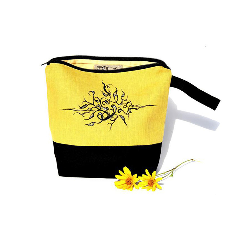 Yellow linen zipper cosmetic pouch packing gift jewelry bag with black handle
