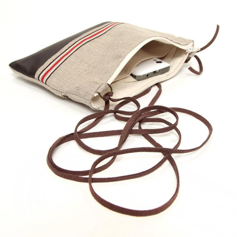 Custom combined PU leather webbing design lady linen travel shopping bag with suede strap