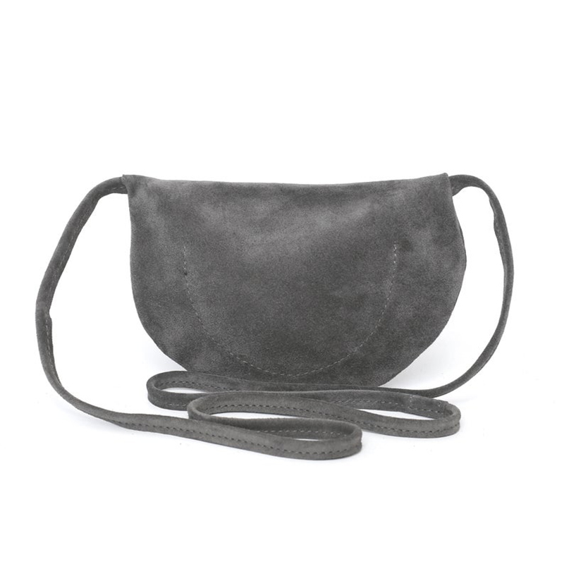 Custom gray suede travel shopping bag shoulder zipper crossbody bag