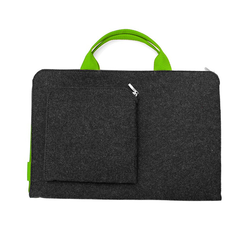 Felt travel bag zipper extra pocket office laptop bag