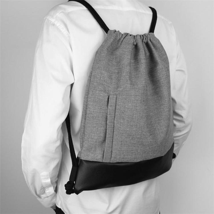 Custom phone pocket black PU leather bottom jute backpack