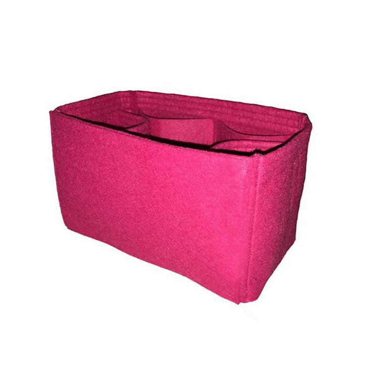 Custom pink felt bag organizer insert