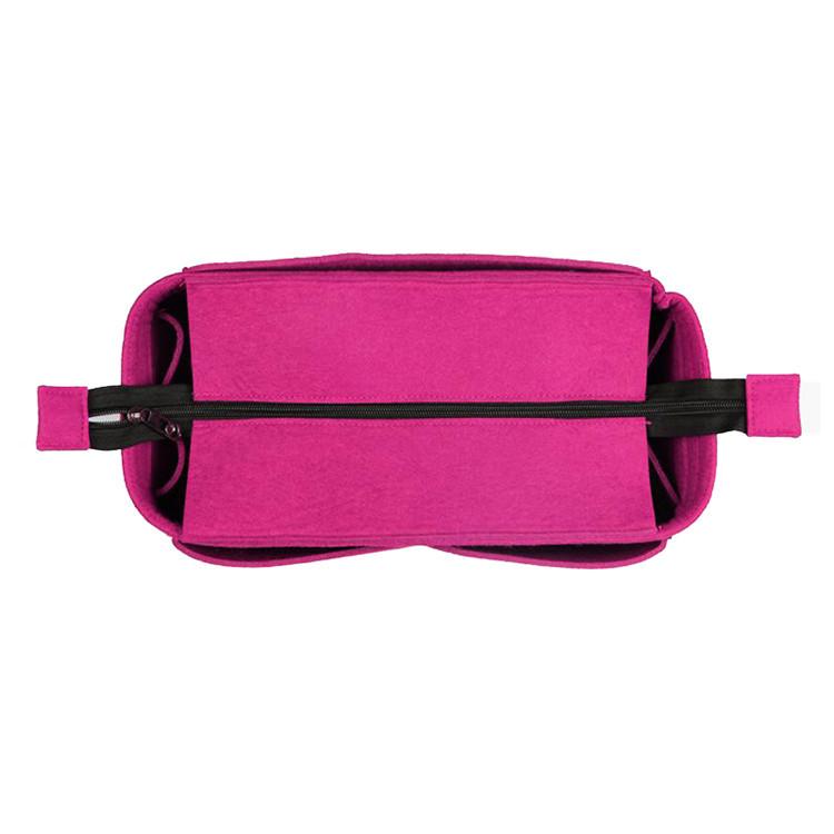 Custom Purple Felt Zipper Handbag Organizer Insert