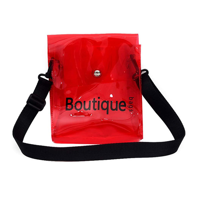Custom logo red transparent pvc shopping