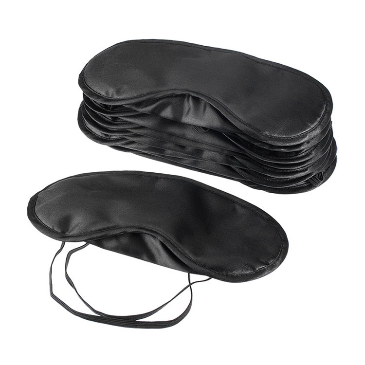 Custom Black Satin Travel Sleep Office Eyeshades