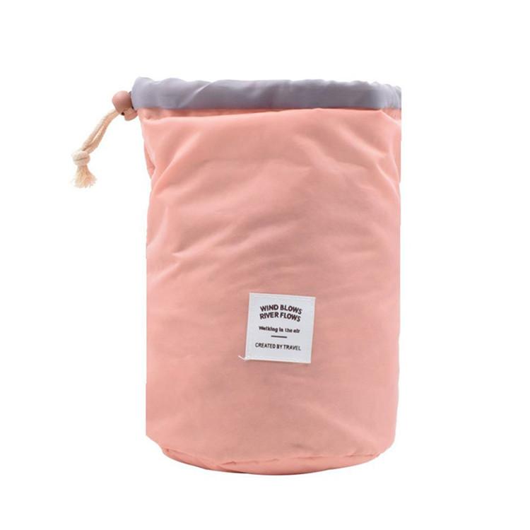 Nylon Make up bag round bottom drawstring bag cloth label