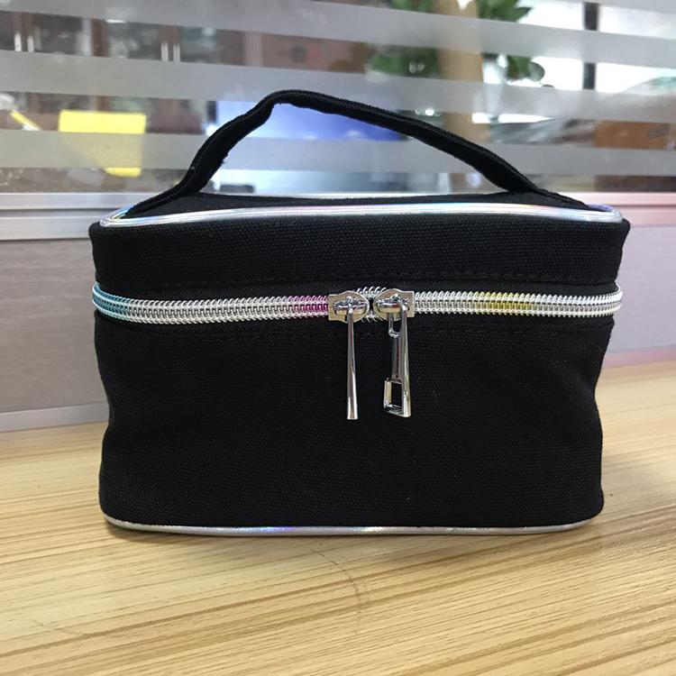 Smale black make up canvas handle bag
