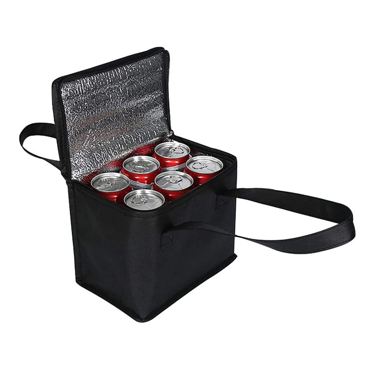 Black non woven fruits drinks food storage tote bag carry lunch box bag