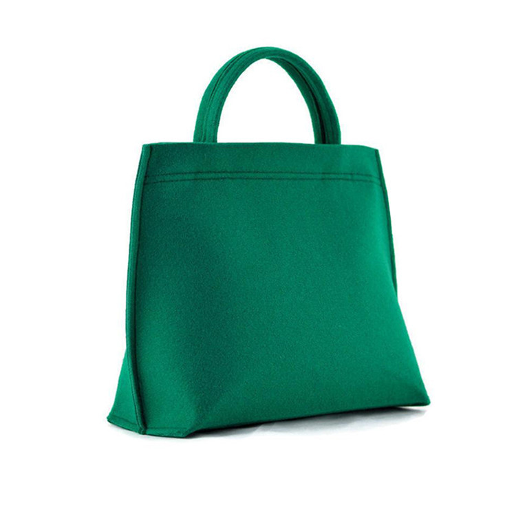 Green felt shopping bag tote bag with zipper