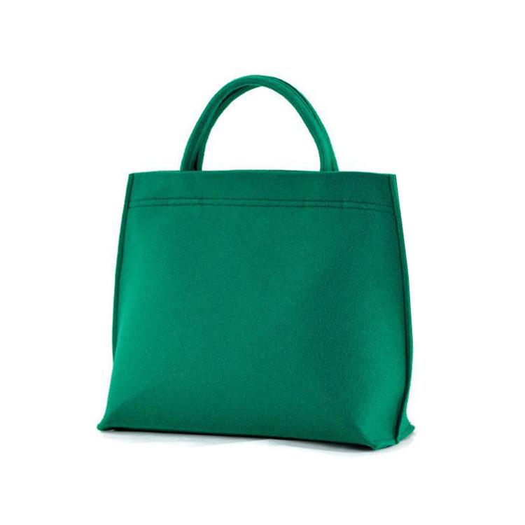 Green felt shopping bag tote bag with zipper