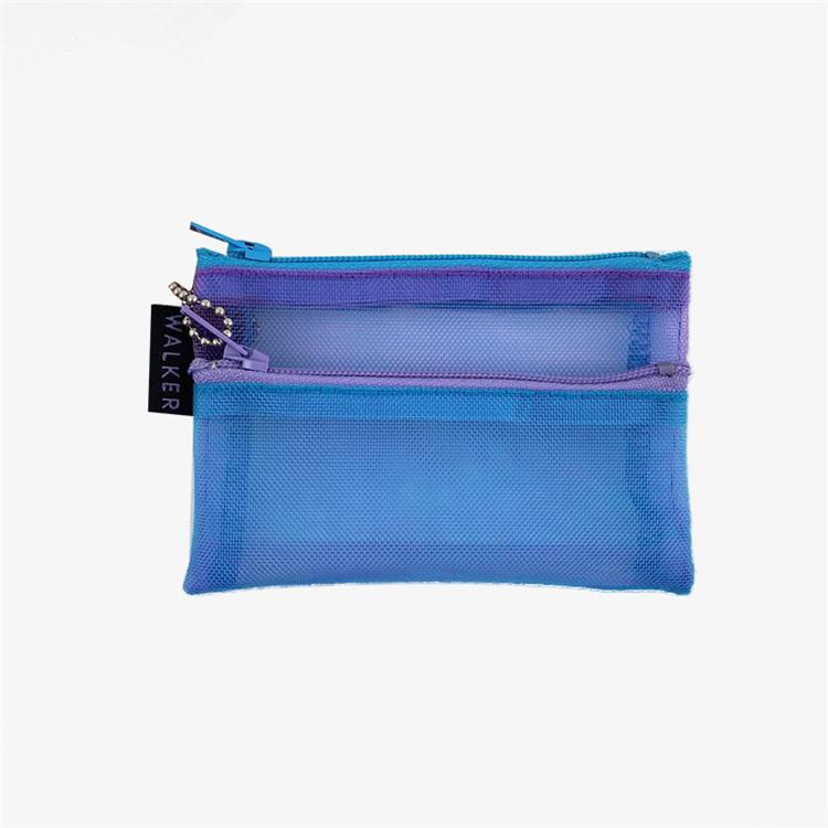 Custom packing nylon mesh makeup brush pencil zipper bag
