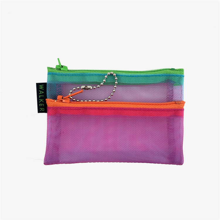 Custom packing nylon mesh makeup brush pencil zipper bag