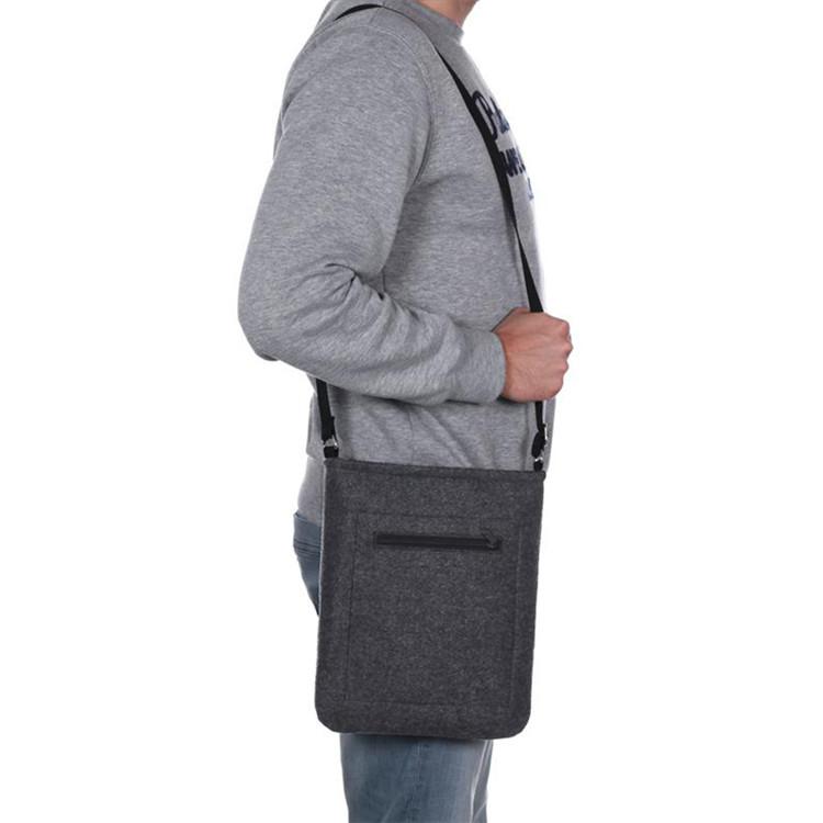 Wholesale custom man gray felt bag with shoulder