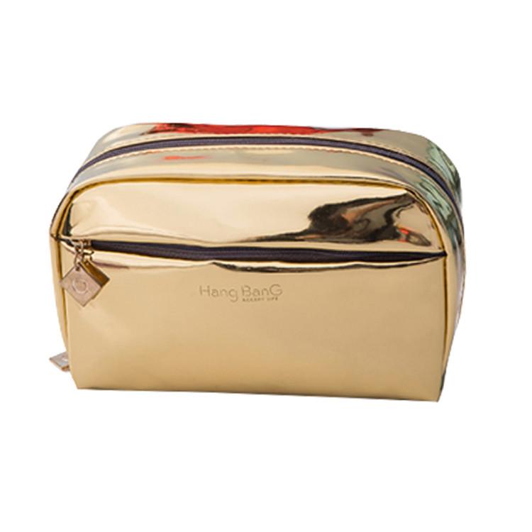 Gold pu leather zipper make up bag packing cosmetic brush bag
