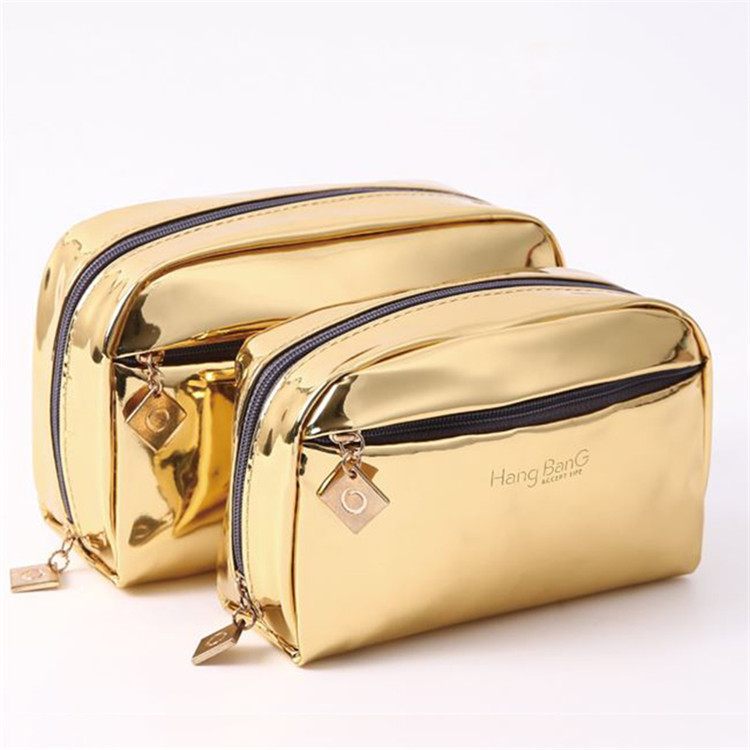Gold pu leather zipper make up bag packing cosmetic brush bag
