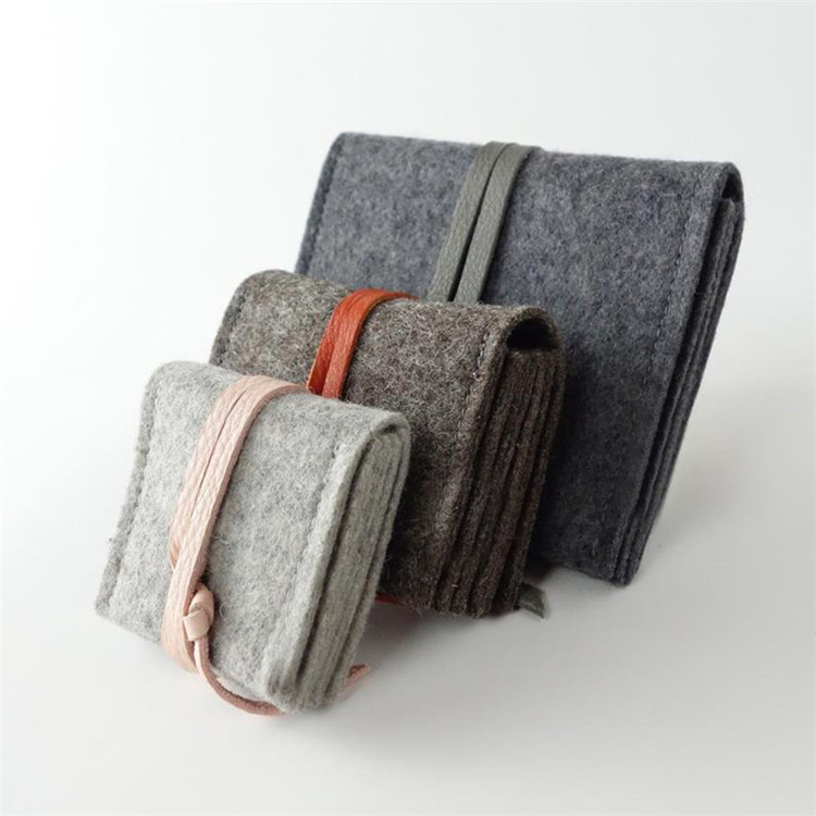 Grey felt envelope ring bag jewelry gift packing bag with pu leather strap