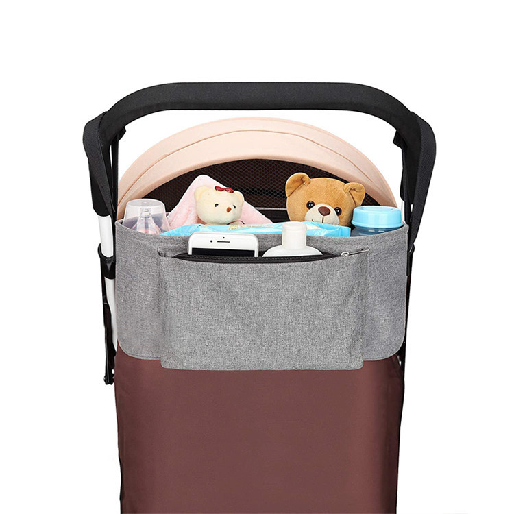 Grey Universal Baby Stroller Organizer Bag With Cup Holders Extra Storage For Smart Moms