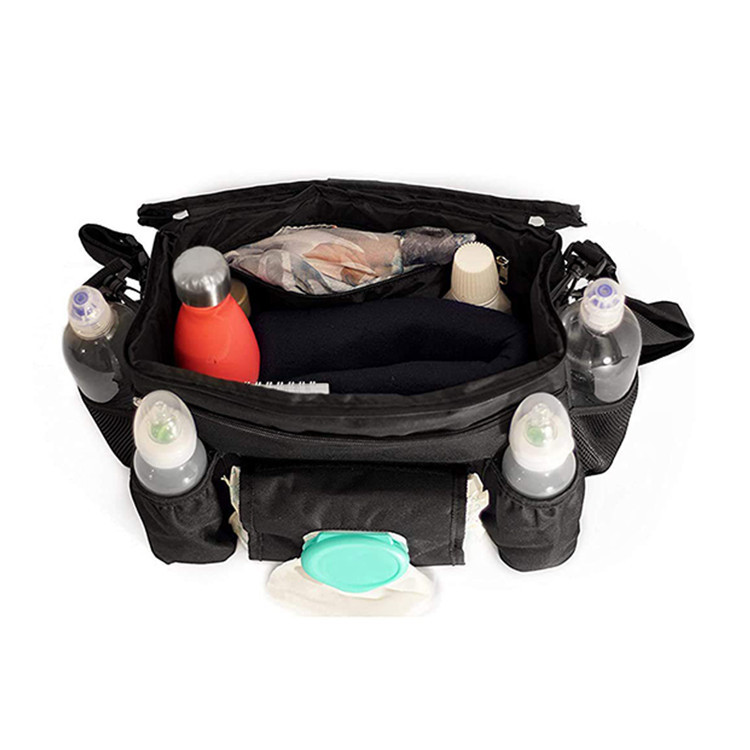 Black Polyester Diaper Organizer Bag Large Strollers Storage Baby Bag Carry Handle