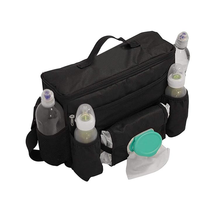 Black Polyester Diaper Organizer Bag Large Strollers Storage Baby Bag Carry Handle
