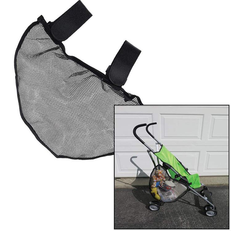 Side Sling Stroller Black Mesh Cargo Organizer bag Non-Slip Adjustable Straps