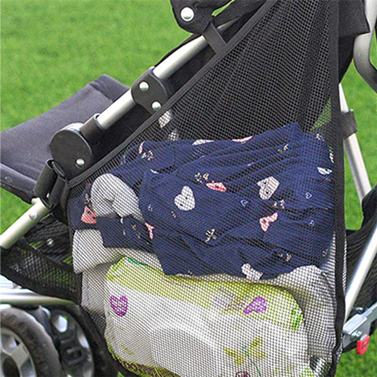 Side Sling Stroller Black Mesh Cargo Organizer bag Non-Slip Adjustable Straps