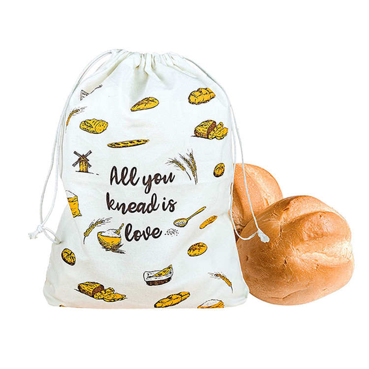 Cutom drawstring cotton bread bag printed logo