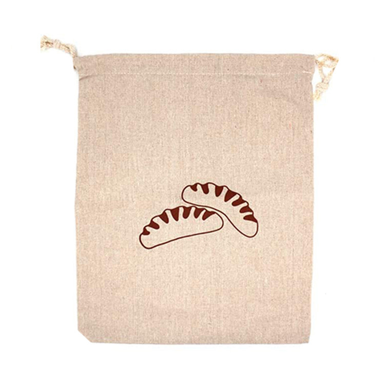 Wholesale double drawstring closure homemade linen bread bag