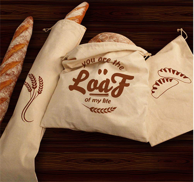 Wholesale double drawstring closure homemade linen bread bag
