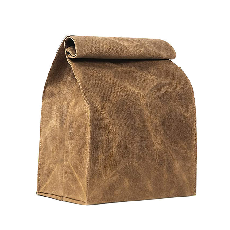 Custom roll up waterproof brown waxed canvas lunch bag