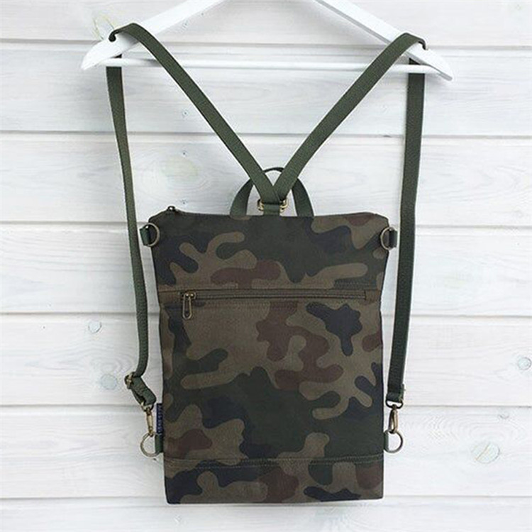 Custom unisex camo canvas backpack crossbody bag