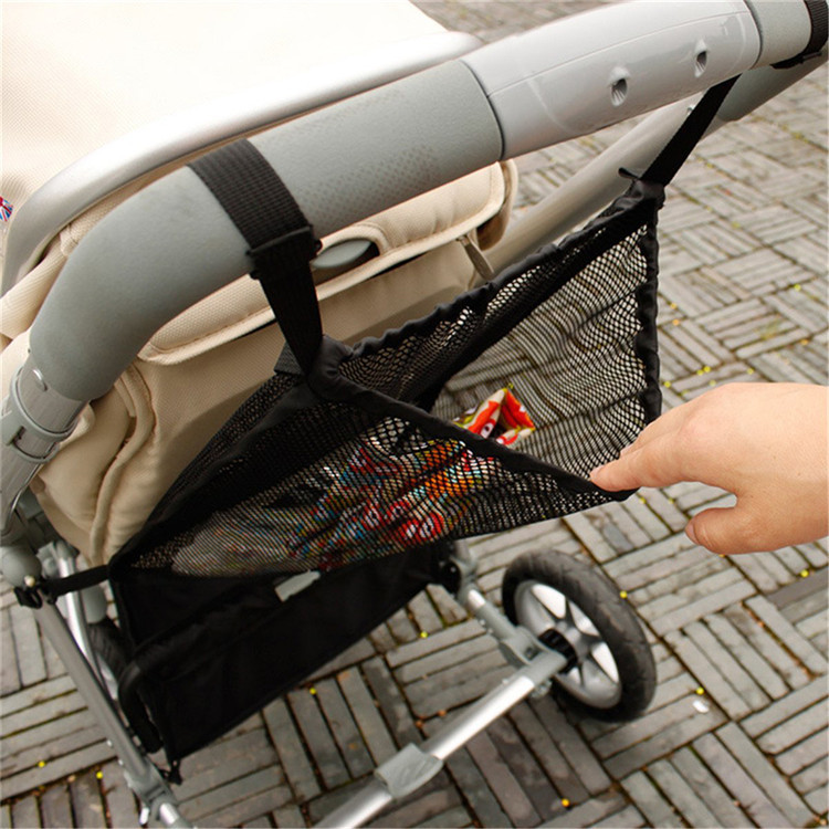 Custom black mesh bag baby stroller organizer with elastic openings