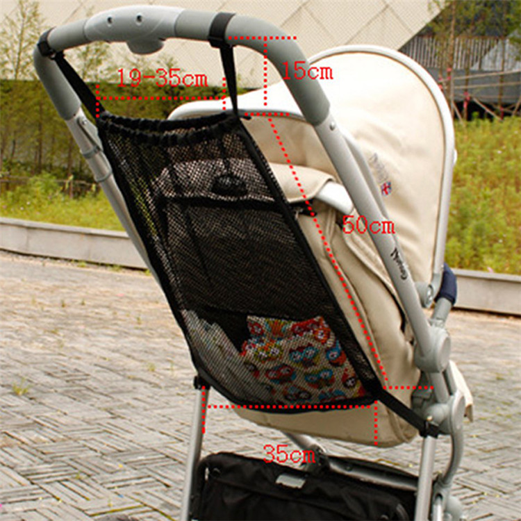 Custom black mesh bag baby stroller organizer with elastic openings