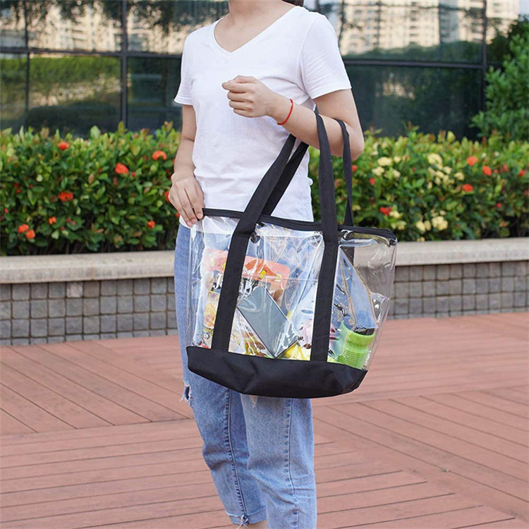 Large clear tote shopping bag PVC handbag for women